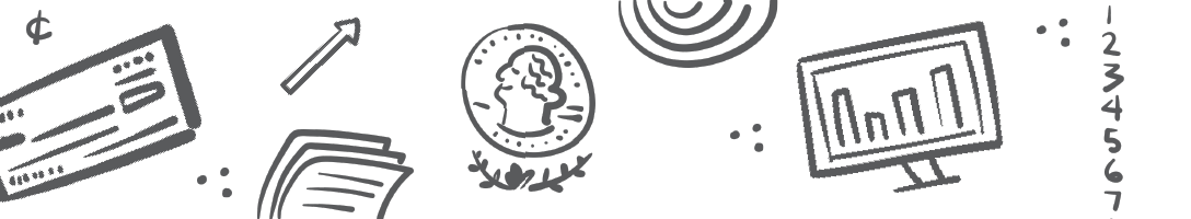 black and white graphic doodles of accounting icons