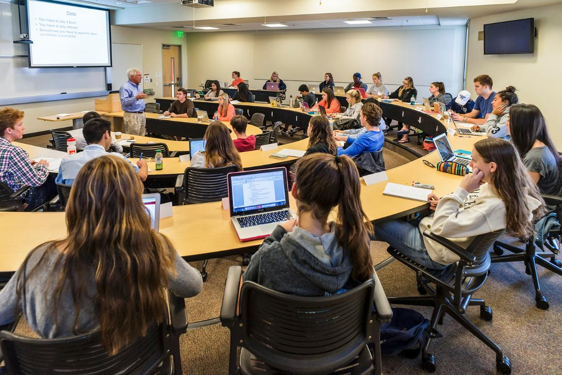 Santa Clara University Leavey School of Business undergraduate students in class