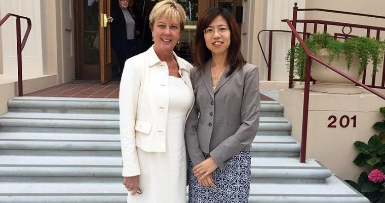 Caryn Beck-Dudley with Xiaojing Dong after the MS in Business Analytics program was approved.