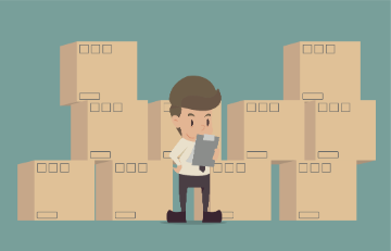 Illustration of a man taking inventory of boxes
