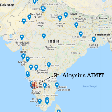 Map of India showing MOBI student locations