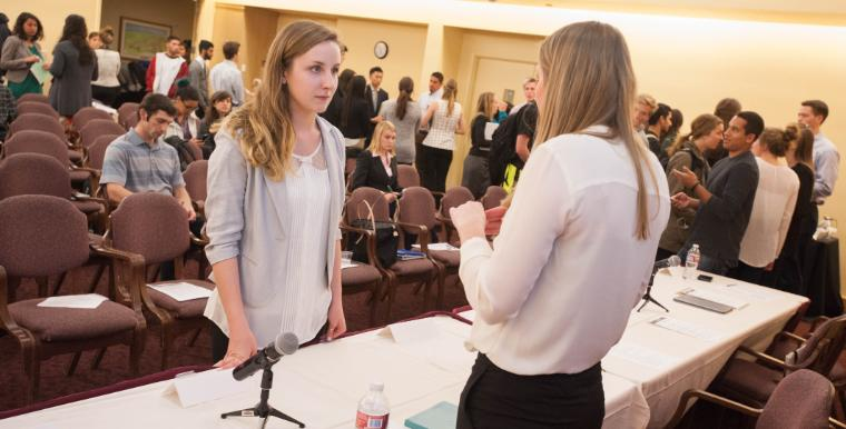 Students discussing at Career Center event