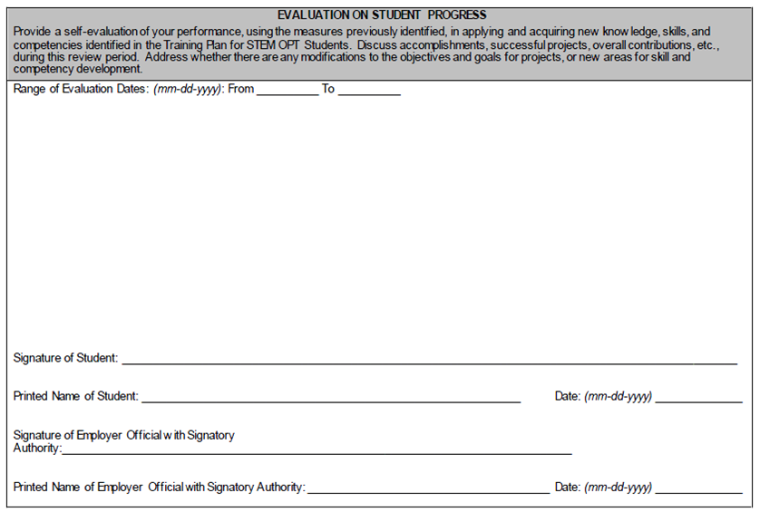 Stem Opt Training Plan Form I 983 Global Engagement