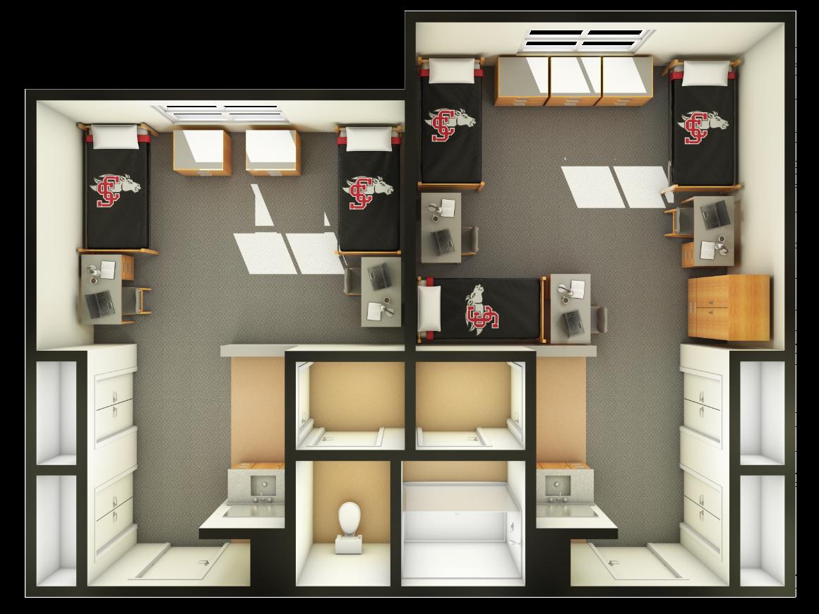 Graham Hall Room Layout On Campus Living Santa Clara University