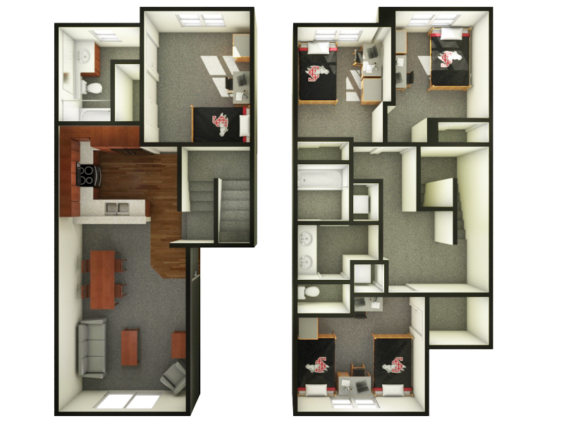 We Are Only Able To Offer 5 Person (seen In Layout) And 6 Person Four  Bedroom Apartments In The University Villas.