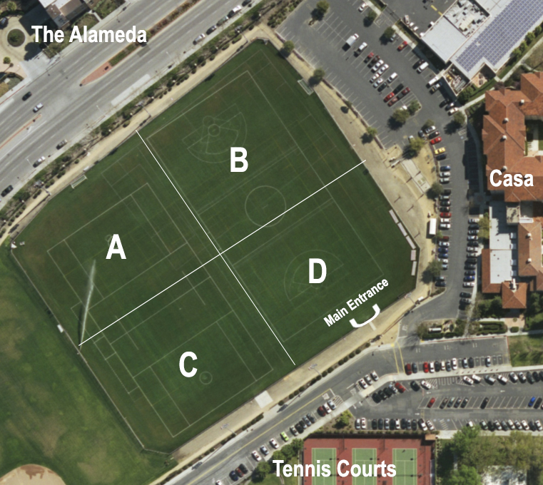 Image of Bellomy Field with labeled field locations A, B, C, & D