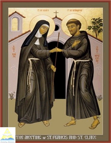 Meeting of Saints Clare and Francis © 1985 Br. Robert Lentz, OFM Image used courtesy of Trinity Stores