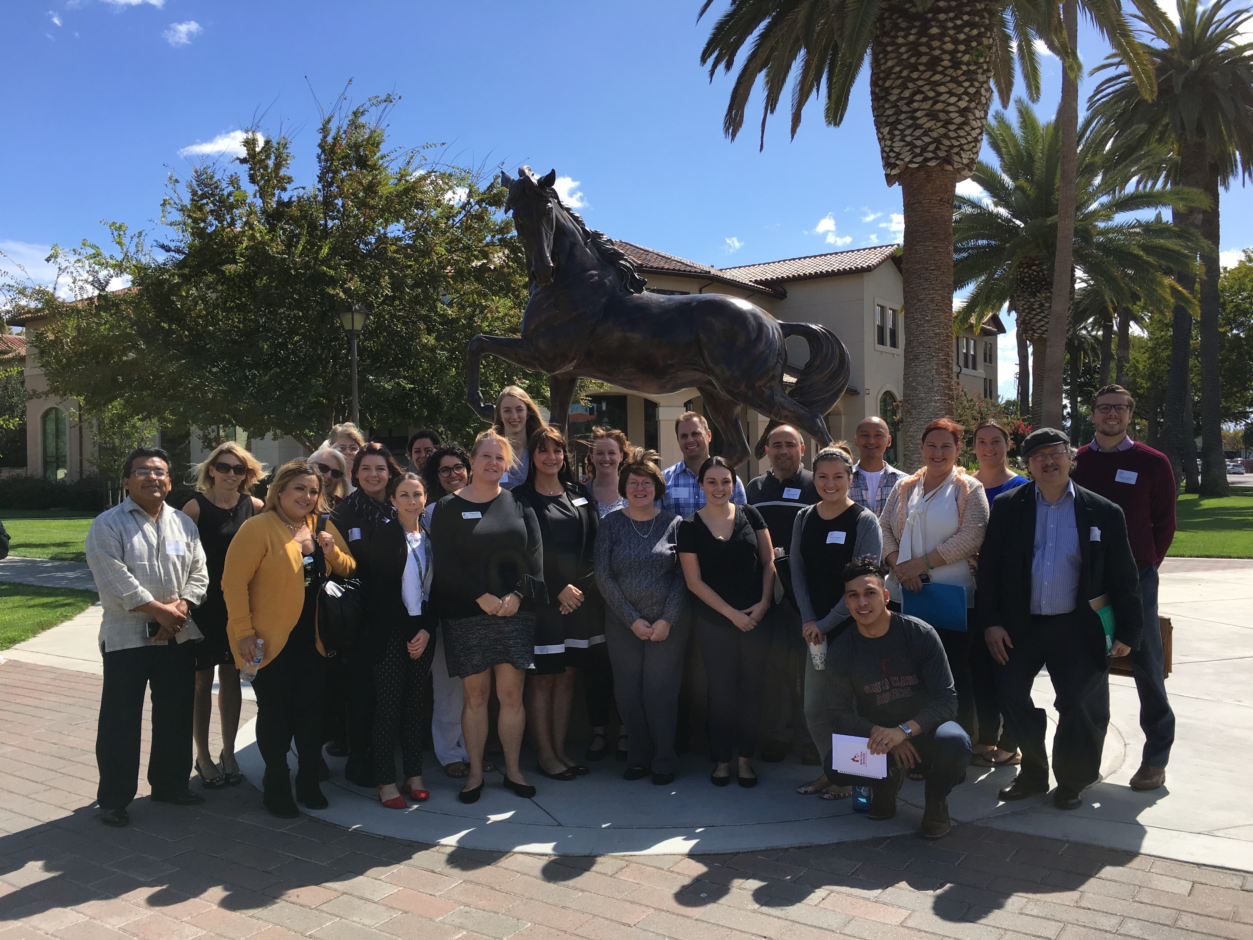 2017-18 Staff Senators in front of the Bronco statue
