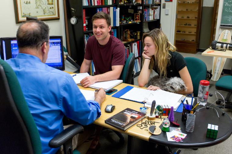 Teacher/Student Meeting - Professor meeting with two students. Link to file