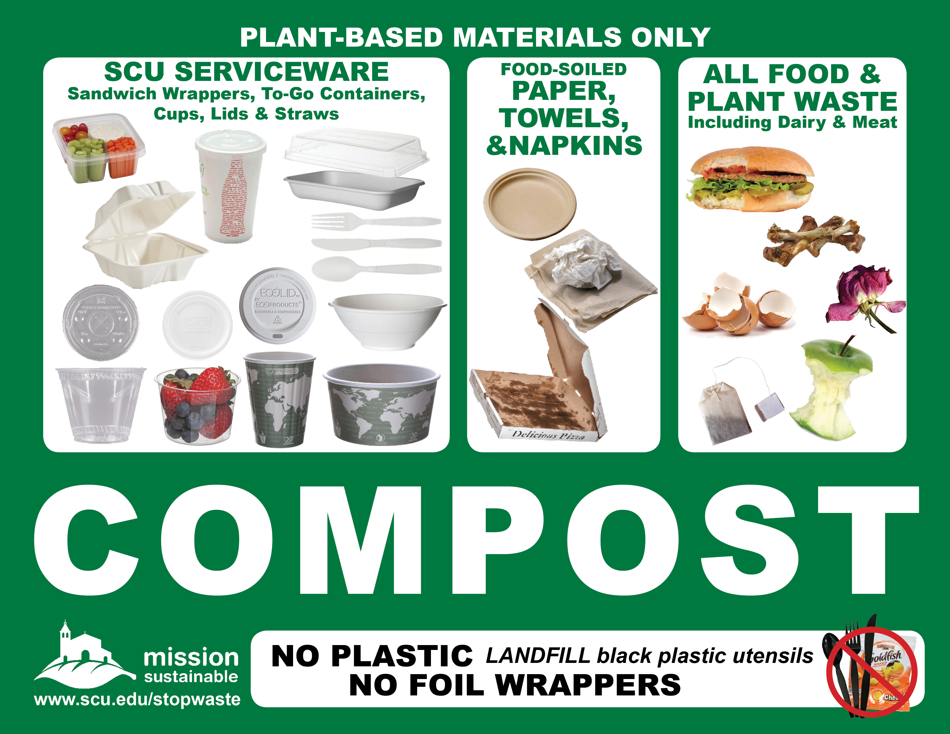 Sign showing food, SCU serviceware, and napkins that can be composted - Image of items that can be composted, such as food, SCU serviceware, and napkins Link to file