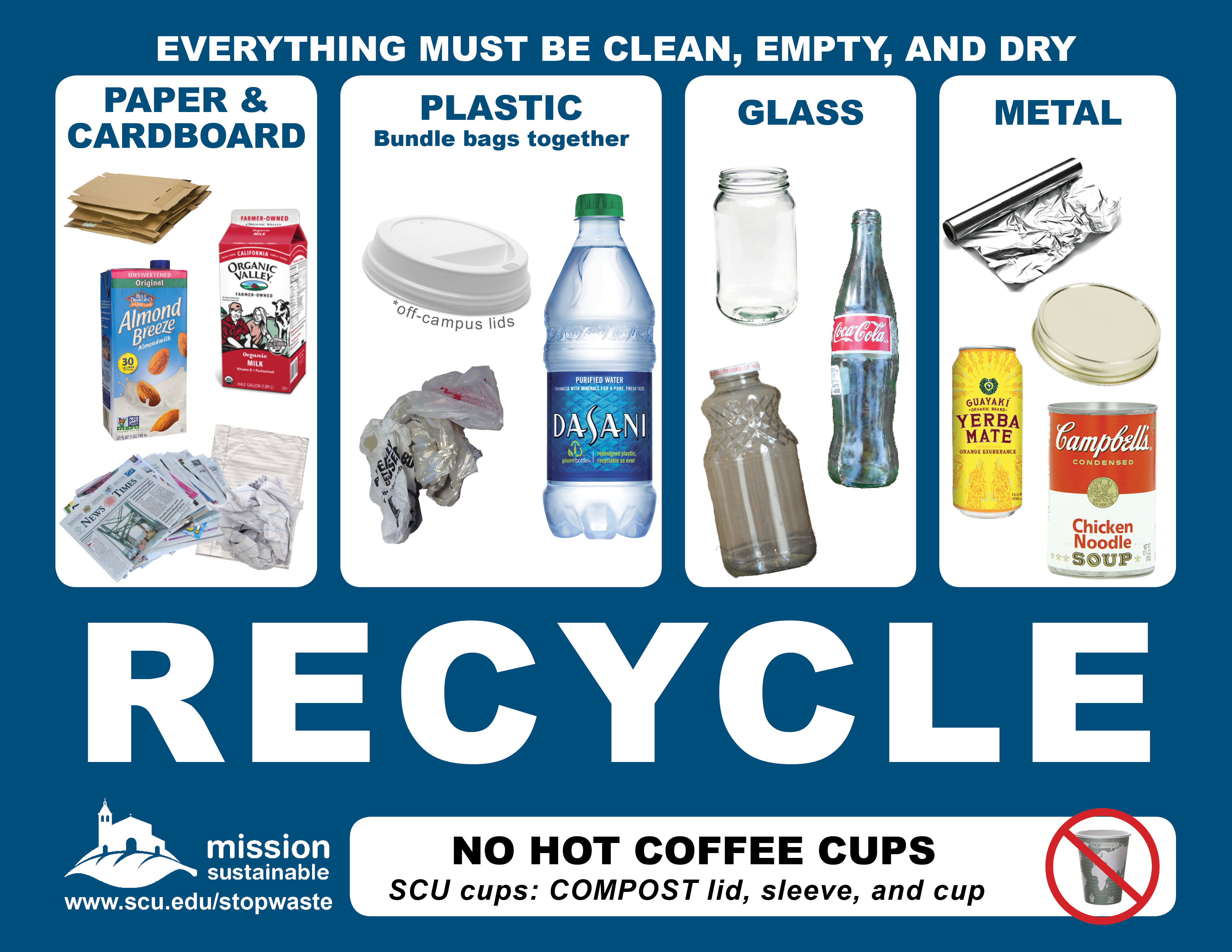 Pictures of items that can be recycled, including glass, plastic bottles, and paper. - Sign showing pictures of items that can be recycled, such as plastic bottles. Link to file