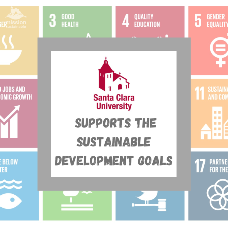 SCU Seal and UN SDGs background: Santa Clara University supports the Sustainable Development Goals