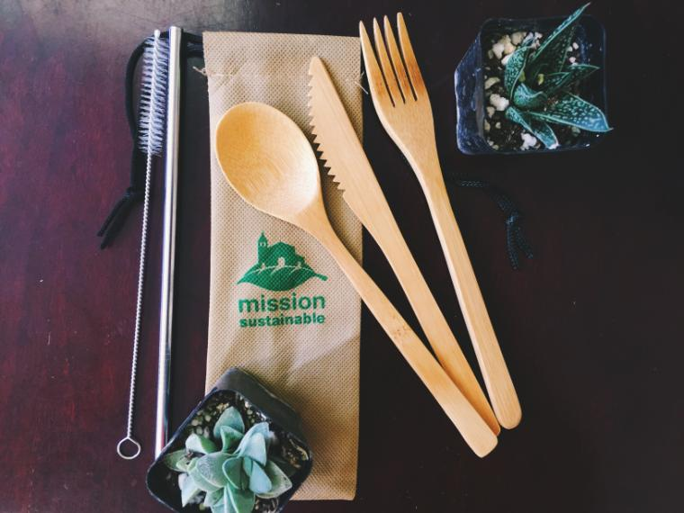 Reusable utensils made from bamboo alongside succulents