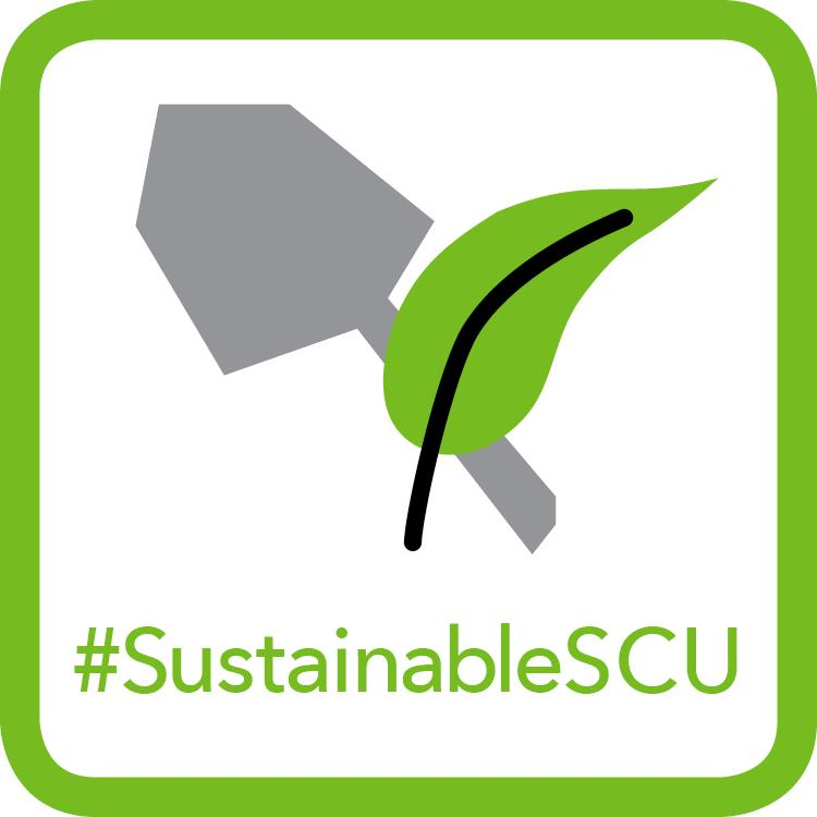 Light Green Landscaping Badge - Hand Shovel & Leaf Icon #SustainableSCU
