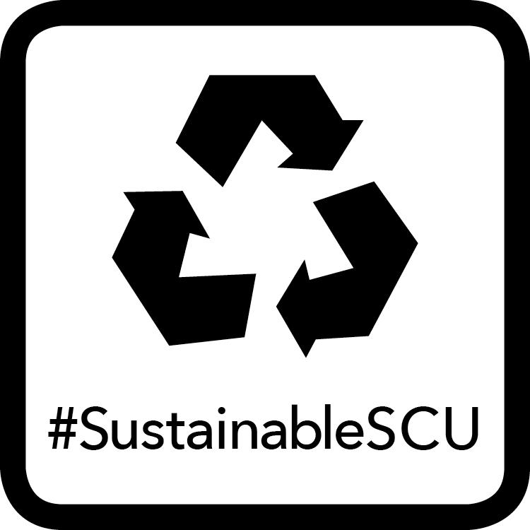 Black Waste Badge - Recycling Symbol Icon #SustainableSCU