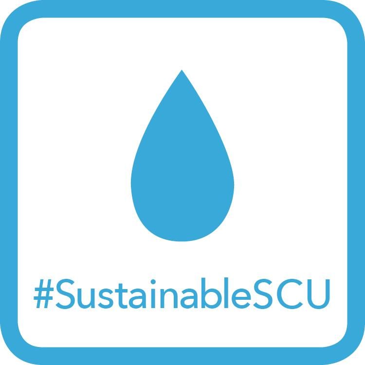 Light Blue Water Badge - Water Droplet Icon #SustainableSCU