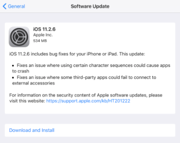 iOS Software Update Dialog Box