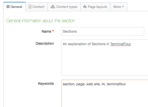 Name, description and keyword fields