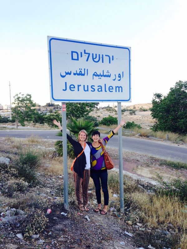 Tanya (right) and her friend Katrin Kreuzer (Tanya's volleyball teammate from Germany) in Jerusalem.