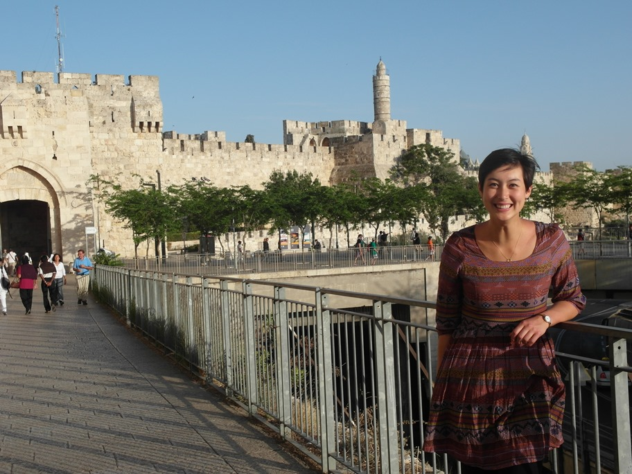 Tanya in front of the Jaffa Gate, one of the entrances into Jerusalem's Old City.
