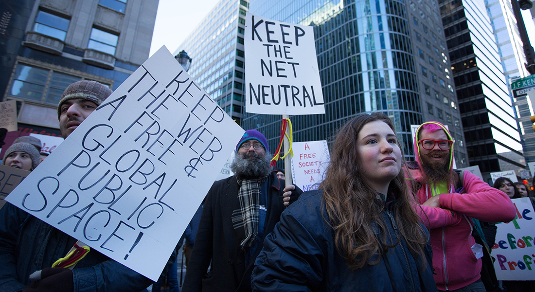 People protesting net neutrality repeal