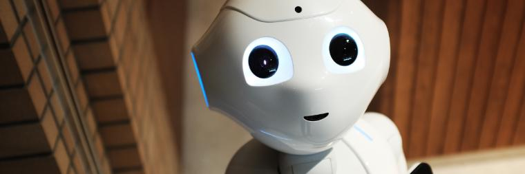 Close-up of a cute humanoid robot face