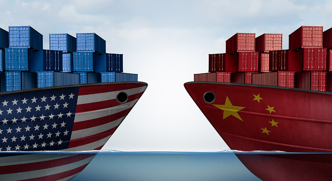 Two ships face off with each other, one from United States the other from China to illustrate trade war