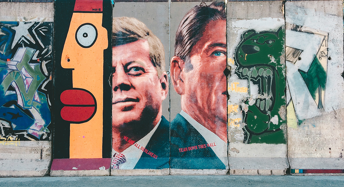 LA Street Mural of John Kennedy and Ronald Reagan
