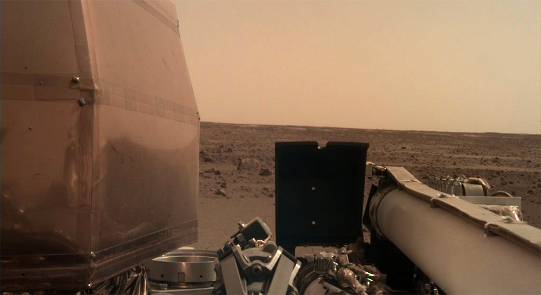 Mars InSight Rover takes a picture of the Martian landscape