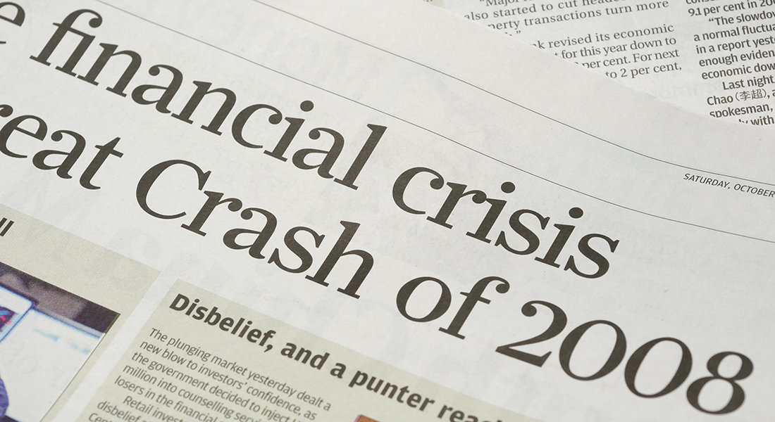 Newspaper headline from 2008 financial crisis