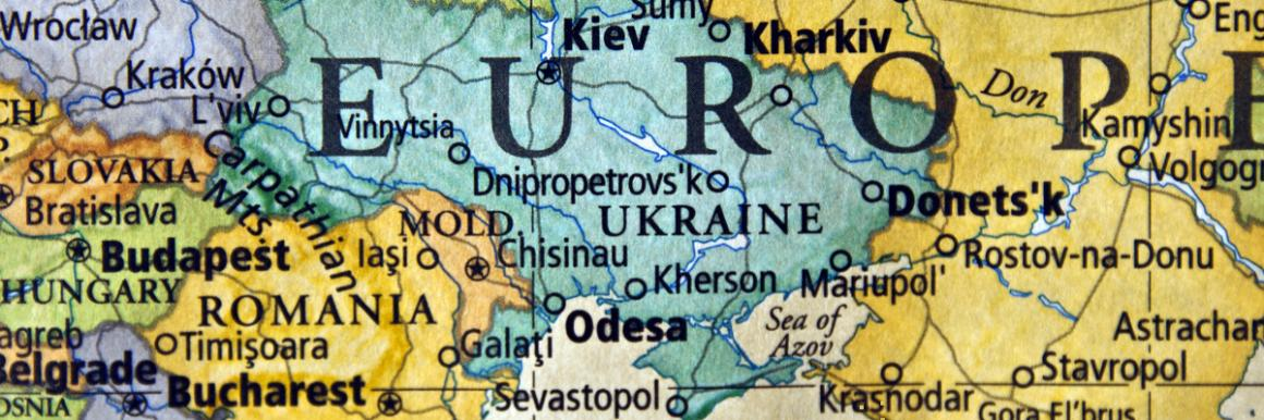 A color image of a portion of a map showing Ukraine.