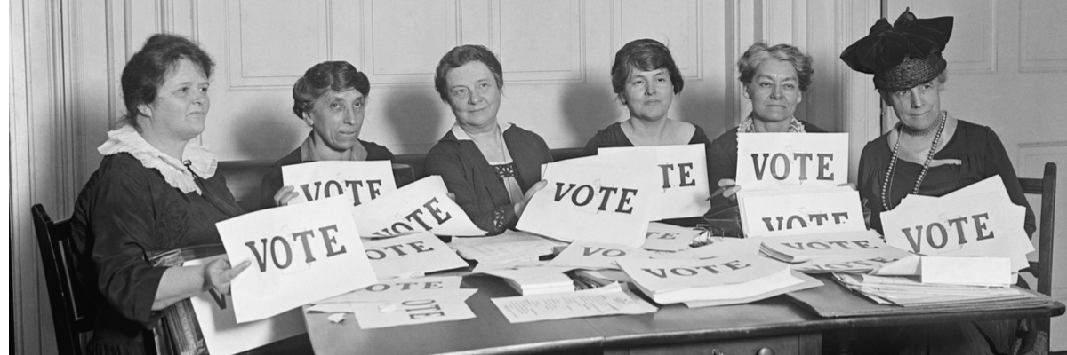 Archival photo of women suffragettes