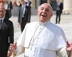 Pope Francis laughing.