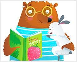 Children's book illustration of a bear holding a rabbit.