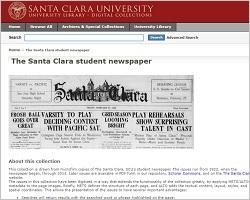 Screenshot of The Santa Clara student newspaper digital database.