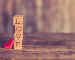 Love wooden blocks stacked