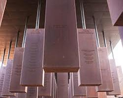 Hanging pillars that memorialize those who have been lynched at the National Memorial for Peace and Justice.