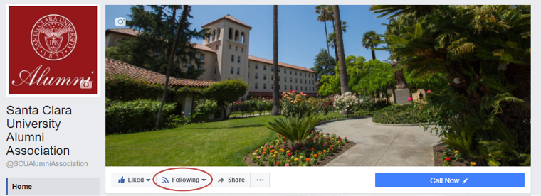 Screenshot of Alumni Facebook page