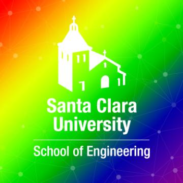 School of Engineering logo sits above a rainbow gradient