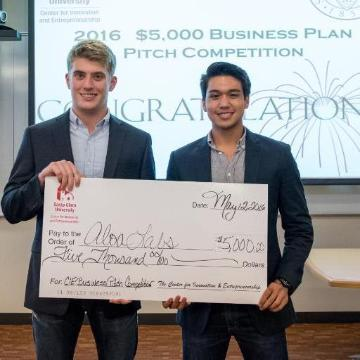 Reece Jackson '18 and Christian Raroque, winners of CIE's $5,000 Grand Prize Product Pitch Competition