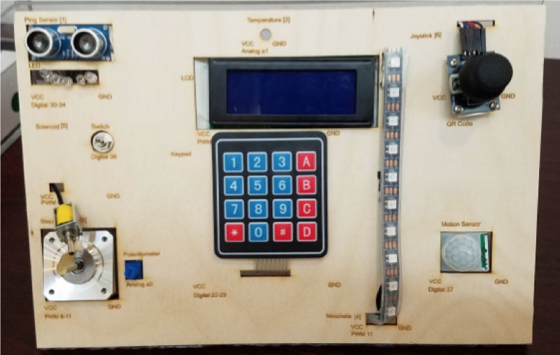 Control Panel of a box. Top left is two circular nobs, with a clear row of lights below it. In the top right is another circular nob that is black. In the middle of the board is a small rectangular LCD screen where right below it is a keypad