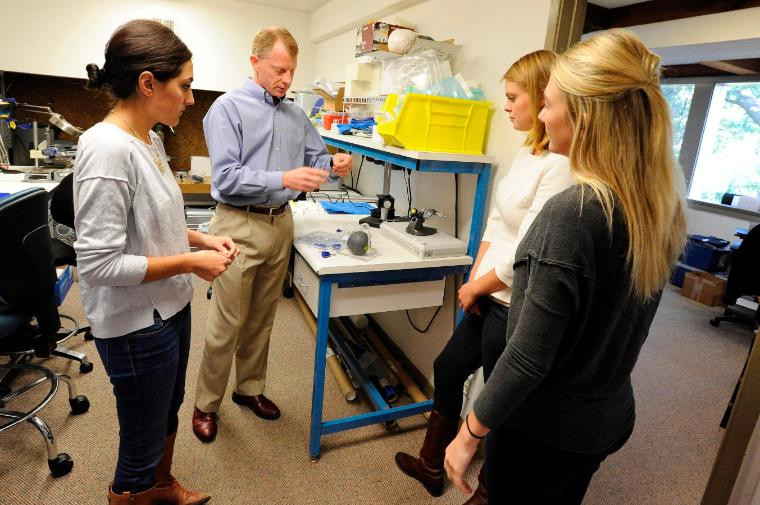 Hold your tongue: bioengineering seniors Erin Araj, Leah Karlsen, and Abby Kilkenny with Erik van der Burg are designing better tools to fight potentially deadly Obstructive Sleep Apnea. image link to story