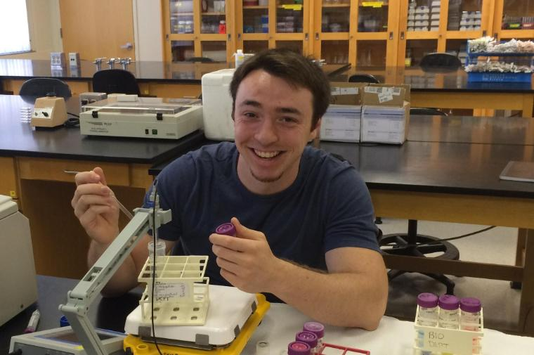 Bioengineering senior Conary Meyer conducts research on a bio-organic solar cell