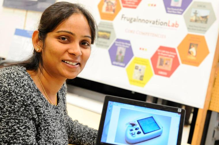 Sushma Devarapalli at work in the Frugal Innovation Lab