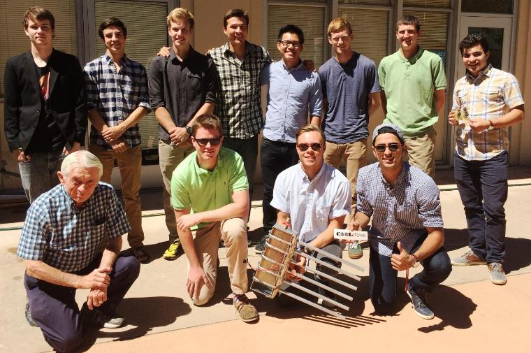 2015 Summer Latimer Energy Lab Scholars: Front row (l to r): Professor Timothy Healy, Michael Rudolf, Chris Clark, Fred Feyzi; Back row: Ryan Baron, Ethan Hayden, Maximilian Reese, Eduardo Melendez, Andy Ly, Matt Burke, Ryan Greenough, Nico Metais