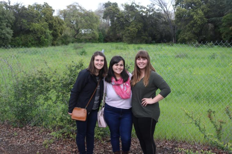 From left, Molly Bencomo, Megan August, and Ashley Waite on a site visit.