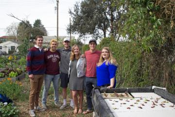 Pre-social distancing, teammates in SCU's Forge Garden with their hydroponic system. From left: Andrew Feldmeth, Alex Estrada, Carson Edgerton, Claire Pavelka, Andrew Jezak, Katya Fairchok