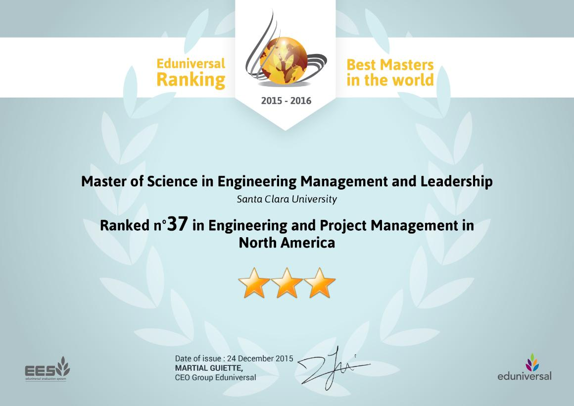 A diploma showing SCU's Engineering Management and Leaderships ranking as #37 by Eduniversal. image link to story