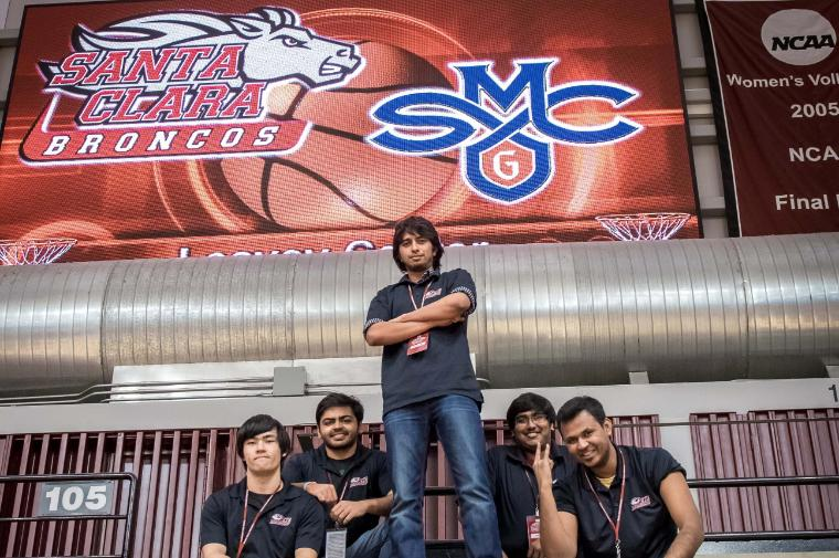 Ready for the big game against rival St. Mary's College—which Santa Clara won 71-70; go Broncos! From left: Benjamin Mullen, Yash Tamakuwala, Vishak Aprameya Shivakumar Kanakapura, Vemuluru Venkata Sri Harsha, Riktwek Swetank. image link to story