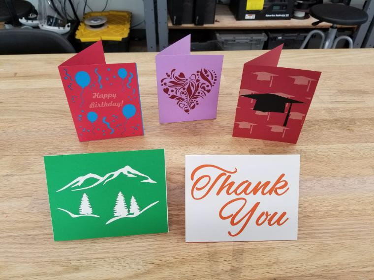 Greeting cards made using a laser cutter